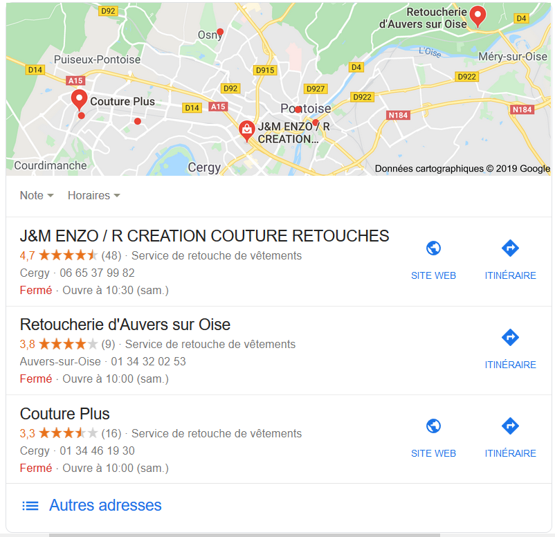 exemple top 3 resultats referencement local